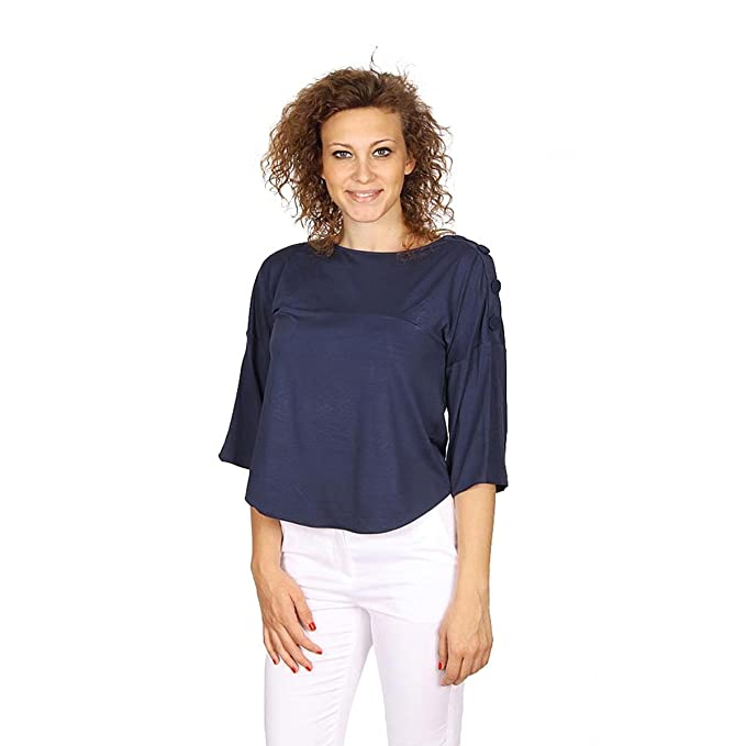 Woman Maglia Manica Shirt T Donna Navy Amazon 34 Armani C4518 Blu FwqPxffH4