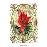 vipsung Throw Blanket with Floral Vector Antique Glass Image Flower Lily Like Design with Leaves and Buds Artwork Multicolor Super Soft and Cozy Fleece Blanket