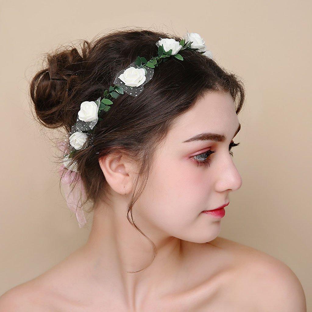 Wreath Flower, Headband Flower Garland Handmade Wedding Bride Party Ribbon Headband Wristband Hairband (Color : C) by Wreath