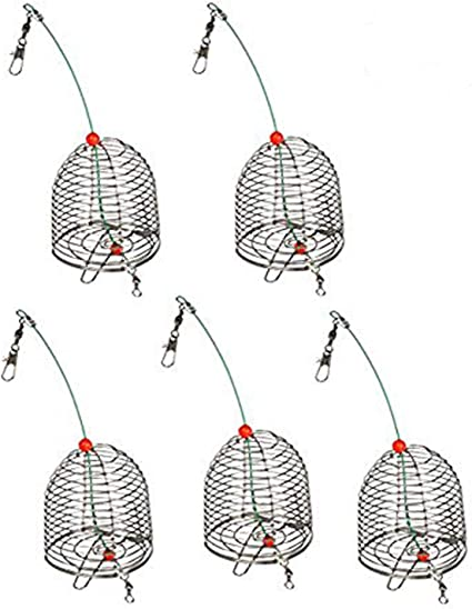 Fishing Inline Trap Cage Creative Cage Basket Bait Trap Practical Sinker Swim Feeder Inline Feeder Basket 2pcs