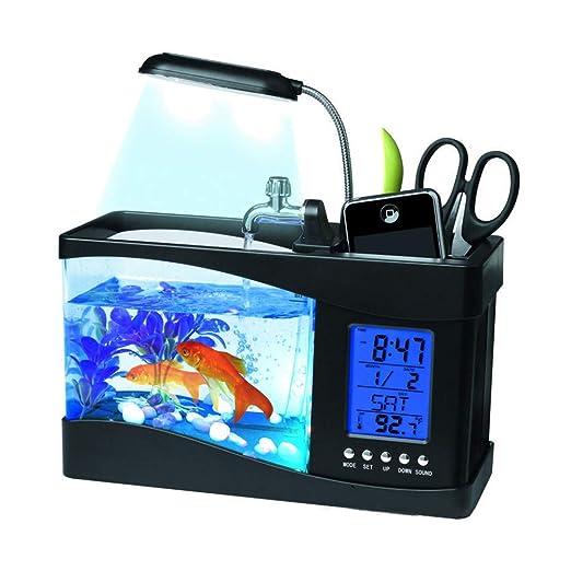 Tanque de peces de acuario Mini USB LCD Luz de escritorio Acuario LED Linterna subacuática Creativo acrílico multifuncional Tenedor de la pluma Hora Fecha ...