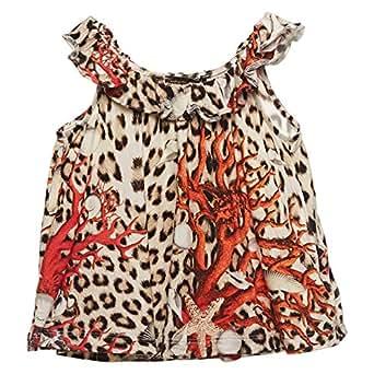 Roberto Cavalli Junior Multi Color Asymmetrical Neck Cami & Strappy Top For Girls