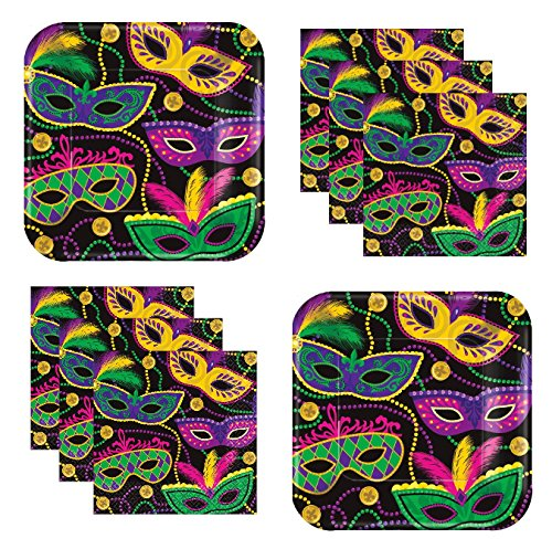 Mardi Gras Party Supplies Pack Fleur De Lis Masquerade Mask Theme for 24 Guests Appetizer/Dessert Plates And Napkins