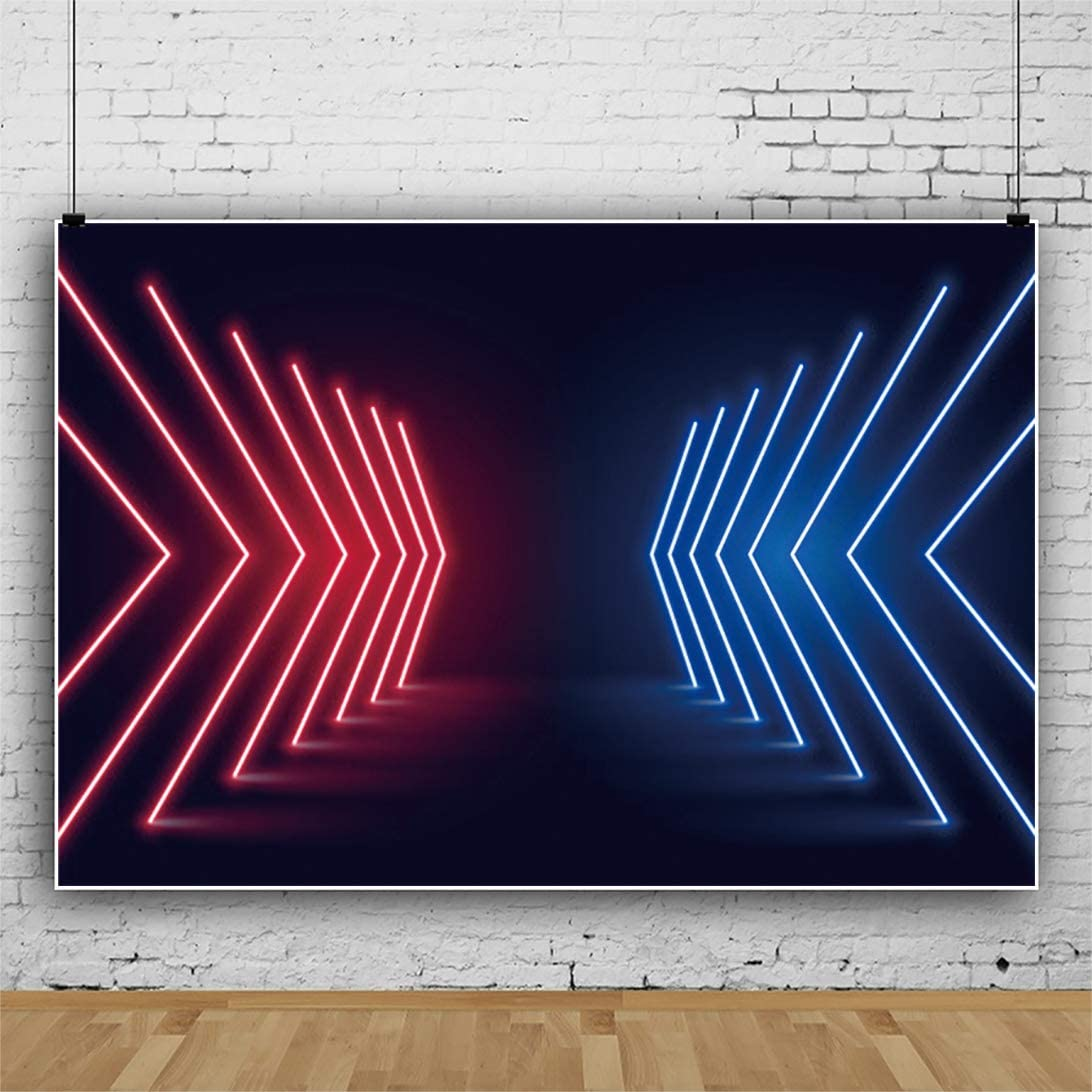 YEELE 12x8ft Neon Party Backdrop Colorful Arrows Neon Lights Futuristic Style Chic Stage Photography Background 80s 90s Disco Party Banner Photo Booth Props Digital Wallpaper