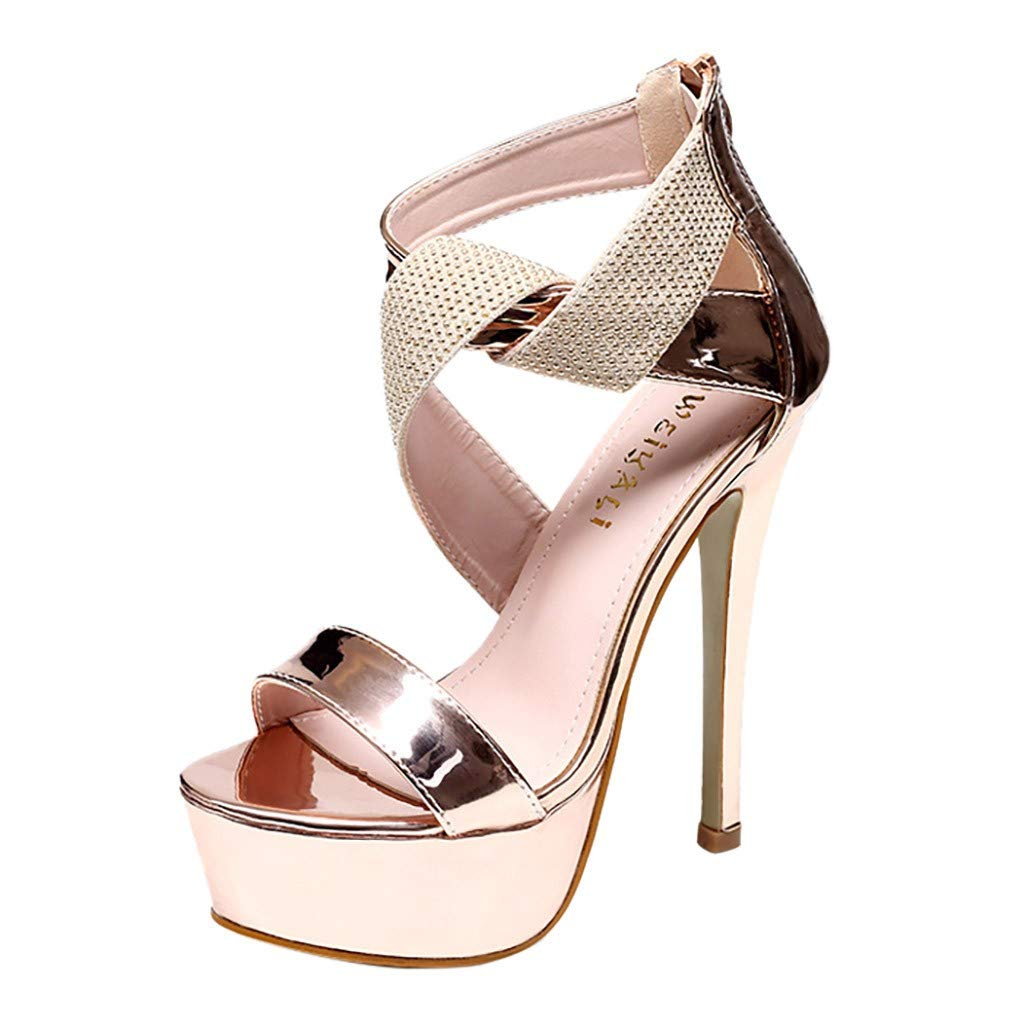 Orangeskycn Women Sandals Slip Pointed Toe Super High Heel Shoes Buckle Strap Gladiator Party Wedding Sandals Gold by Orangeskycn Women Sandals (Image #1)