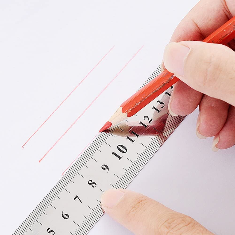 16 Inch 12 Inch 3 PCS Stainless Steel Rulers with Metric and Inch Scale Metal Rule Precision Rule Kit Including 6 Inch