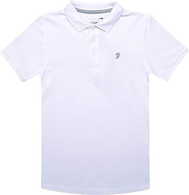 Farah Niños Polo Camiseta Blanca Edad 7 Años hasta 15 Años