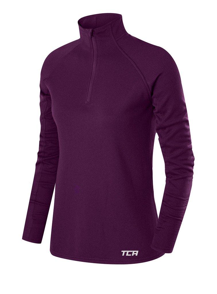 TCA Women's Cloud Fleece ¼ Zip Thermal Running Top with Zip Pocket - Purple Grape, X Small