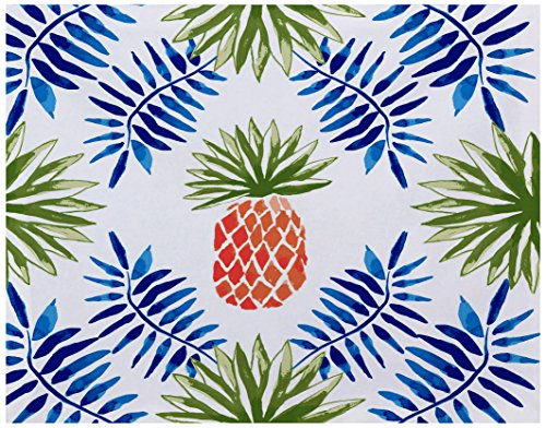 Spike Geometric (E by design PT4G801B1 Pineapple and Spike, Geometric Print Placemat, 18x14, Blue)