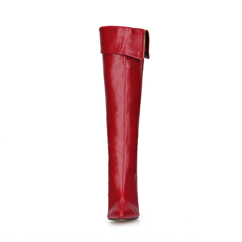 Best 4U Frauen Herbst Herbst Herbst Winter Kniehohe Stiefel 9,8 cm High Heels PU Stiefel Spitz Zipper Schuhe Rot B07GSZVW94 Tanzschuhe Luxus ee1008