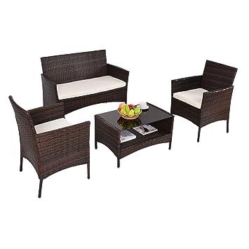 Amazon.com: Patio Furniture Sets Clearance Conversation 4 Piece ...