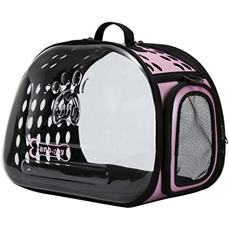 laamei Transportín para Mascotas Perros Gatos Bolsa de Transporte Transparente Transpirable Portátil Exterior Viaje Carrier Bolso