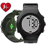 ランニングウォッチ スポーツウォッチ 光腕時計式 心拍計 歩数計 IP67防水防塵 大盤面表示 メンズ ブラックEZONT043A11