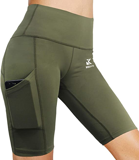 Kipro Yoga Shorts Women High Waist Workout Athletic Biker Short Pants w Pockets