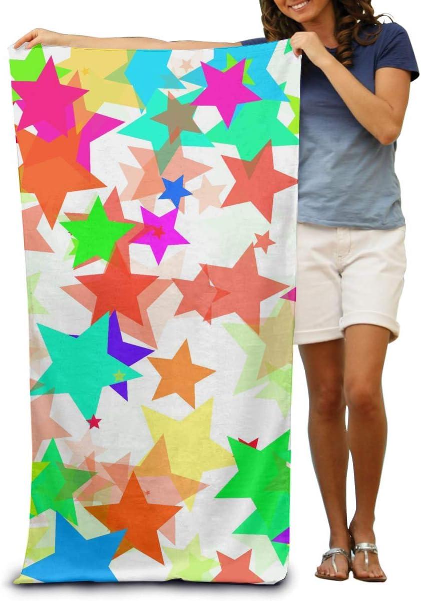 Toalla de Playa de Microfibra Wrap Colorful Star Toallas de SPA absorbentes Toalla de Ducha para Mujeres y Hombres