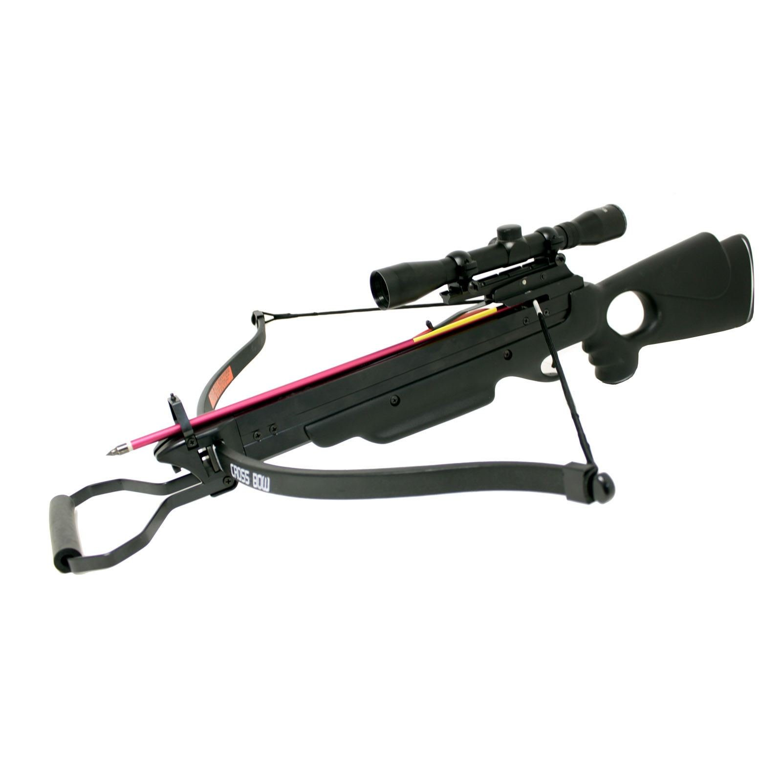 Hunting Crossbows 150 lbs Wizard Black Hunting Crossbow + 4x32 Scope + 8 Arrows Crossbow Bolts