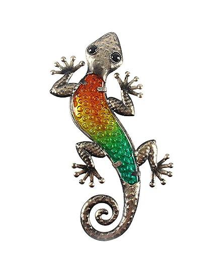 Liffy Metal Gecko Wall Art Lizard Outdoor Decor Glass Garden Decorations Black 12 Long