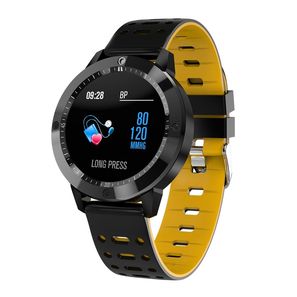 Buybuybuy 2018 Bluetooth Smart Watch with Heart Rate Blood Pressure Oxygen Sport Smart Wrist Watch 1.3'' inchTouchscreen for Android Samsung iOS iPhone X 87 6 5 Plus Men Women Youth (Yellow)