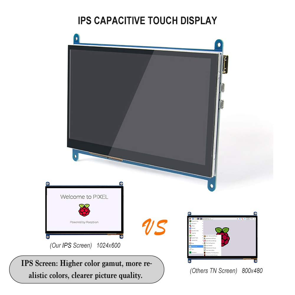 TeNizo 7 inch IPS Capacitive Touch Screen Display with Stand, 1024x600  Ultra HD HDMI Monitor - Supports Raspberry Pi 1/2/3/4 Model B A+ B+ BB  Black,
