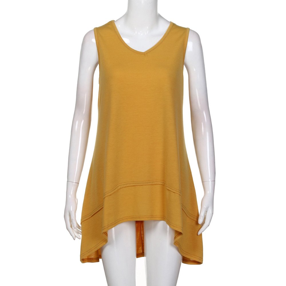 Tank Tops for Women, Kaitobe Womens V-Neck Ruffle Layer Asymmetric Hem Tunic Sleeveless Cami Vest Blouse Tops Yellow by Kaitobe Vest (Image #3)