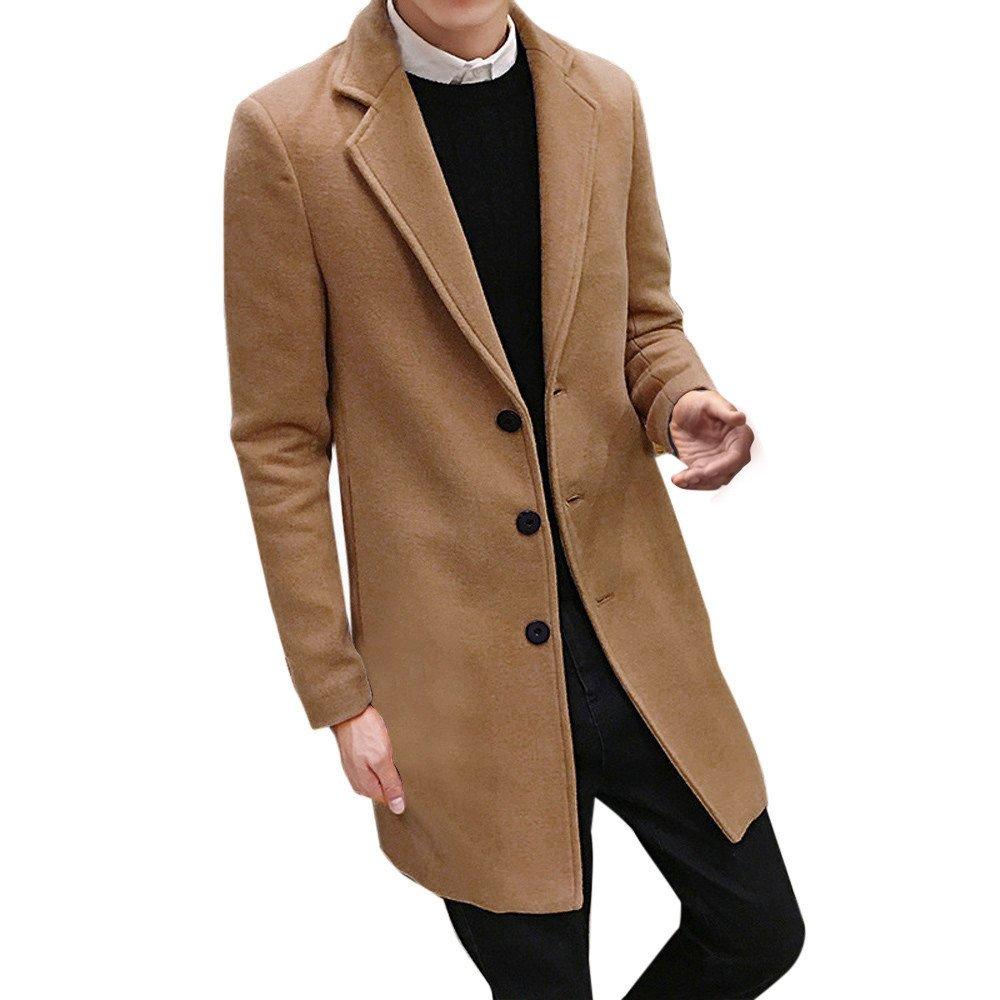 Han Shi Mens Long Trench Coat, Fashion Formal Single Breasted Overcoat Outwear Jacket Tops (Khaki, M)