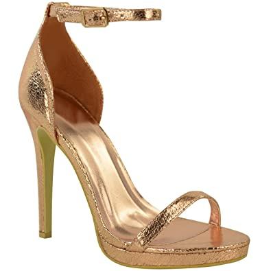 e1f6050c4d5 Womens Ladies High Heel Peep Toe Barely There Ankle Strappy Buckle Sandals  Size  Amazon.co.uk  Shoes   Bags