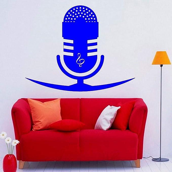yaoxingfu Música Micrófono Calcomanía de Pared Calcomanías de Vinilo Impermeables Clave de Sol Notas Pegatina Interior Arte Murales Decoración extraíble para el hogar WW-4 73x57cm: Amazon.es: Hogar