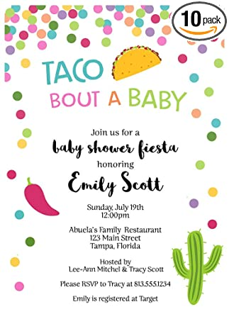 Amazon.com: Taco Bout A Baby, Baby Shower, Invitaciones ...