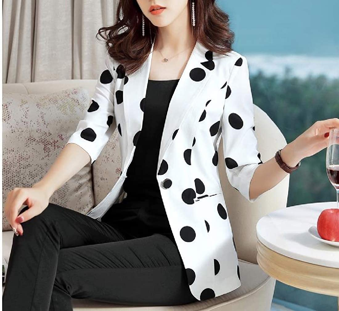 AngelSpace Women Casual Weekend Polka Dot Print OL Office Cactus 1 Button Outwear