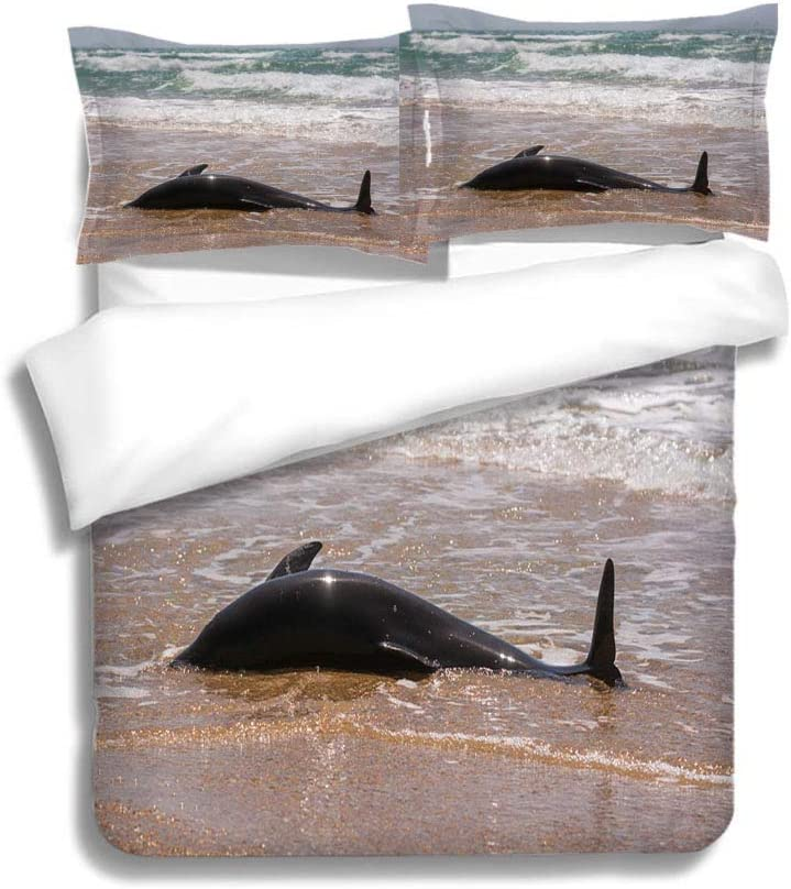 MTSJTliangwan Family Bed The Body of a Dead Bottlenose Dolphins Washed Ashore 3 Piece Bedding Set with Pillow Shams, Queen/Full, Dark Orange White Teal Coral