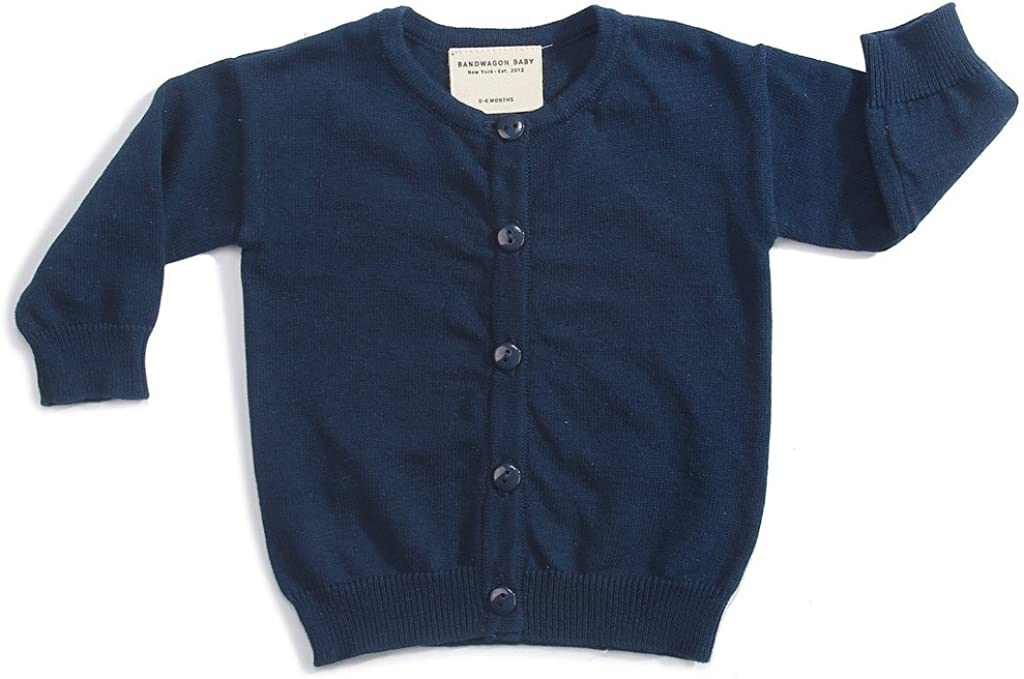 Bandwagon Baby Kids Cotton Knit Cardigan Sweater 3/4 Years Navy Blue: Clothing