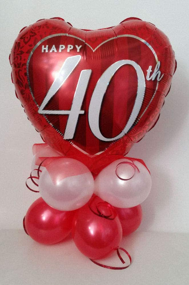Ruby Happy 40th Wedding Anniversary Red Latex Balloons Helium or Air Fill