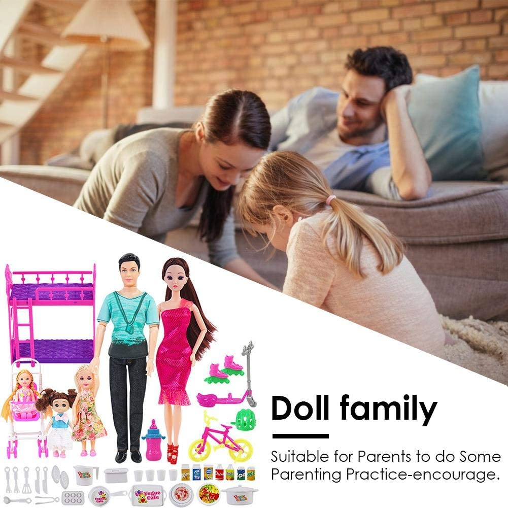 Knowled 40PCS Family Dolls Set Of 5 People With Dad Pregnant Mom 3 Daughters Kids Pretend Playing Toys Accessories For Kids Childs Toy Children Birthday Gift