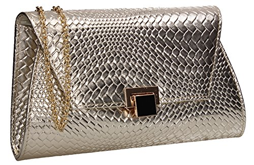 Evening Party Gold Tyler Bag Clutch Flapover Ladies Celebrity Weave Wedding Night Prom Out SWANKYSWANS vpHxww