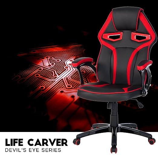 Life Carver - Silla deportiva elegante, respaldo alto, apoyo lumbar, piel sintética, náilon, asiento giratorio: Amazon.es: Hogar
