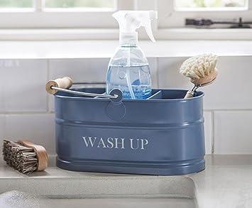 kitchen sink blue enamel washing up sink tidy shabby chic vintage - Enamel Kitchen Sink
