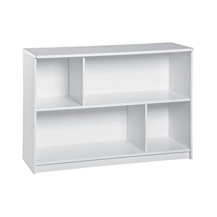 Svitlife KidSpace White 2 Tier Offset Bookcase Shelf Storage Wood Book