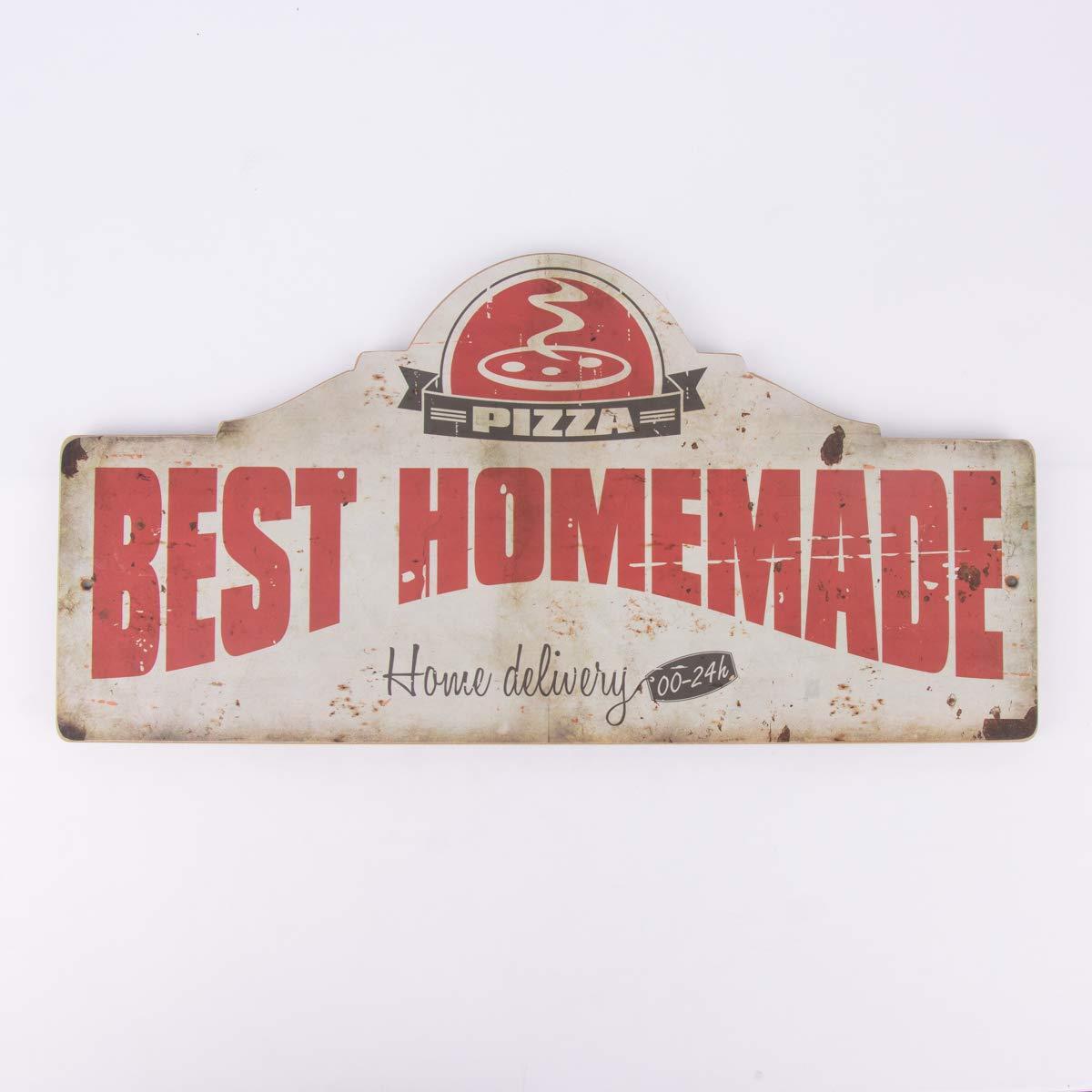 SCHÖNER LEBEN. Bello da Vivere. Clayre & Eef Targa retrò Pizza Legno Rosso Crema 60 x 30 cm SCHÖNER LEBEN.