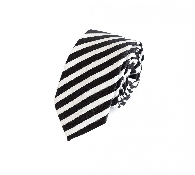 Fabio Farini Schmale Krawatte gestreift in schwarz weiss 1000498