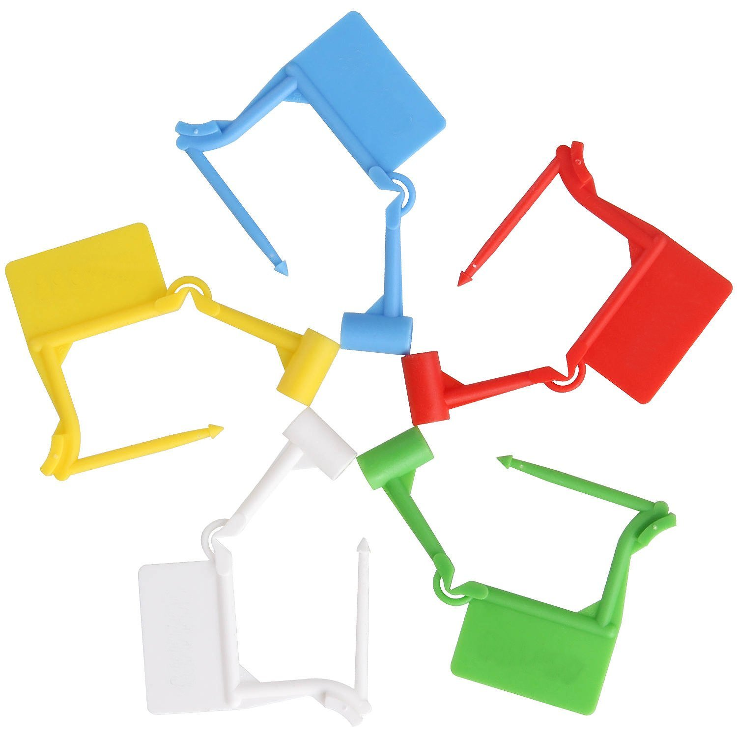 100 pcs Disposable Plastic Padlock Seal, 5 colors self-locking type safety control seals. Ideal for luggage, Document Bag, Transportation, briefcase locking