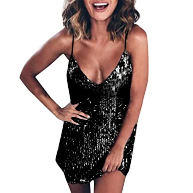 b22a194e Mysky Fashion Women Sexy Sparkle Sequin Deep V-Neck Sling Mini Dress Ladies  Brief Pure