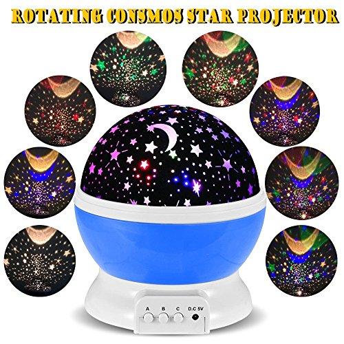 Rotating Night Light,Ferryone Romantic Sky Moon & Cosmos Cover Projector Night Lighting for Children Adults Bedroom, Mood/Decorative Light, Baby Nursery Light, Living Room Gift(Blue)