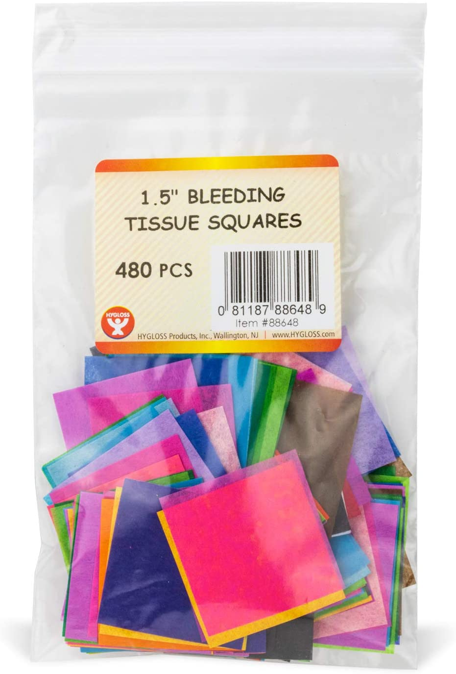 Colors-480 Pcs 2-Inch Arts /& Crafts 20 Assorted Colors Classroom Activities /& More DIY Projects Hygloss Products 88748 Bleeding Tissue 2 Square Mosaic Paper