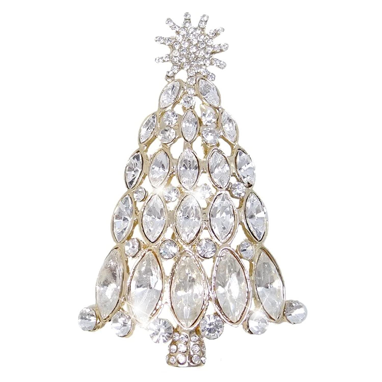 EVER FAITH Sun Wishing Tree Austrian Crystal Brooch