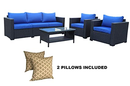 Amazoncom 4 Piece Outdoor Wicker Rattan Sofa Patio Garden