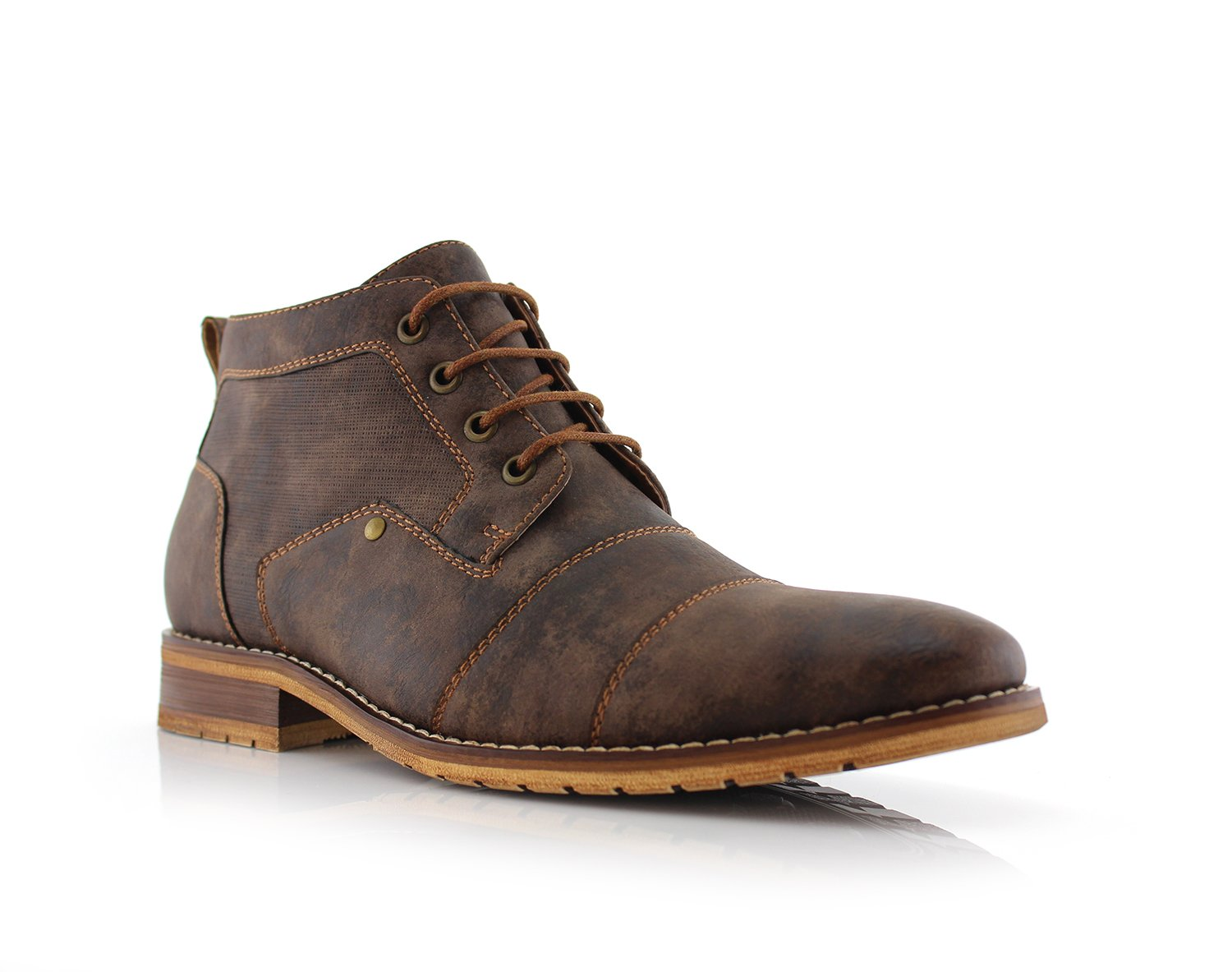 Ferro Aldo Blaine MFA806035 Mens Casual Brogue Mid-Top Lace-up and Zipper Boots – Brown, Size 10.5