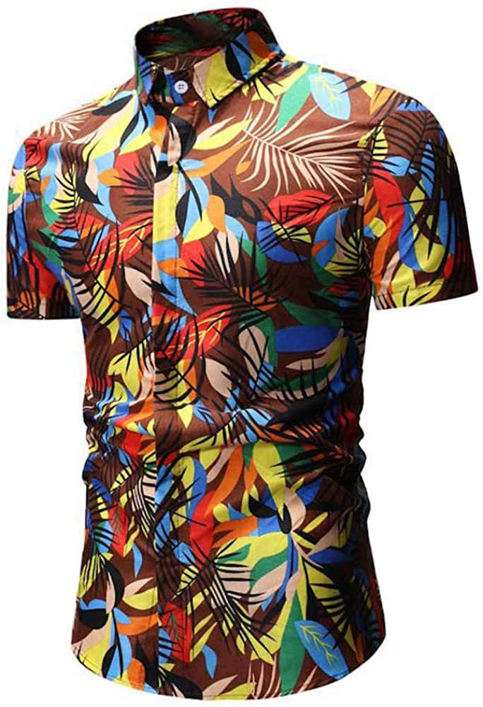 Aland Colorful Leaves Branch Print Men Turn Down Collar Short Sleeve Shirt Slim Top