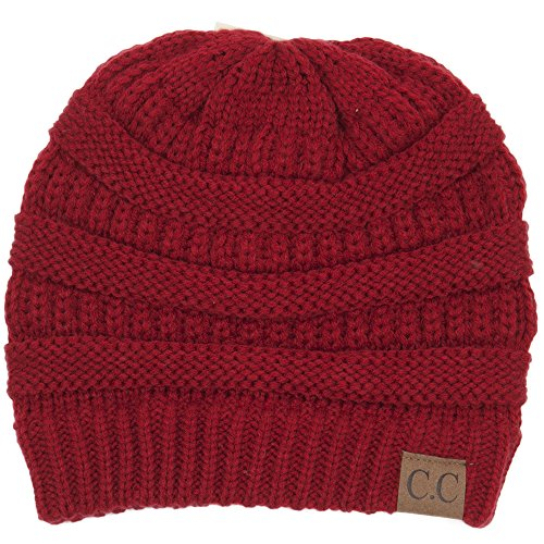 - BYSUMMER C.C Warm Soft Cable Knit Skull Cap Slouchy Beanie Winter Hat (Red)