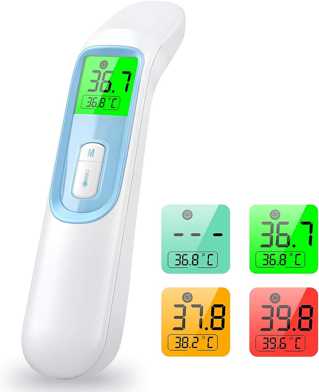 konjac Termometro Infrarrojos, Termómetro digital sin contacto con alerta de fiebre,Termómetro profesional con lector para adulto bebé niños