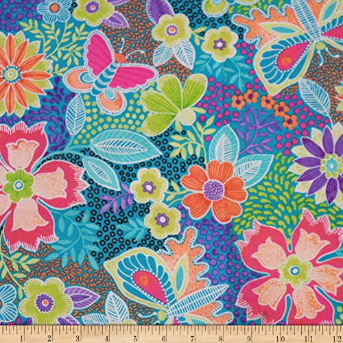 Fabric & Fabric QT Gypsy Butterfly Floral Turquoise Fabric by The Yard